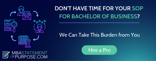 best statement of purpose for bachelor of business