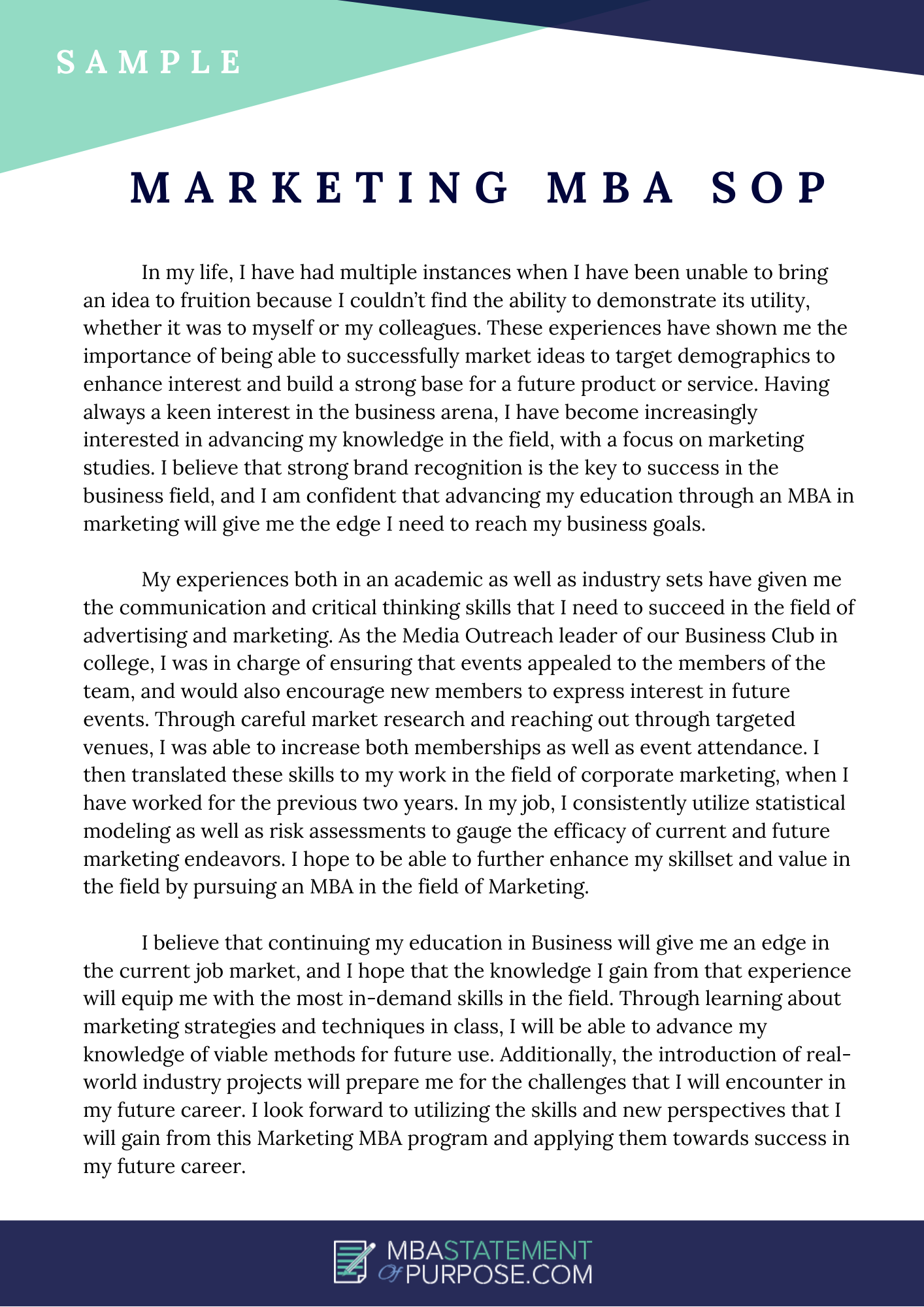 sample marketing mba sop